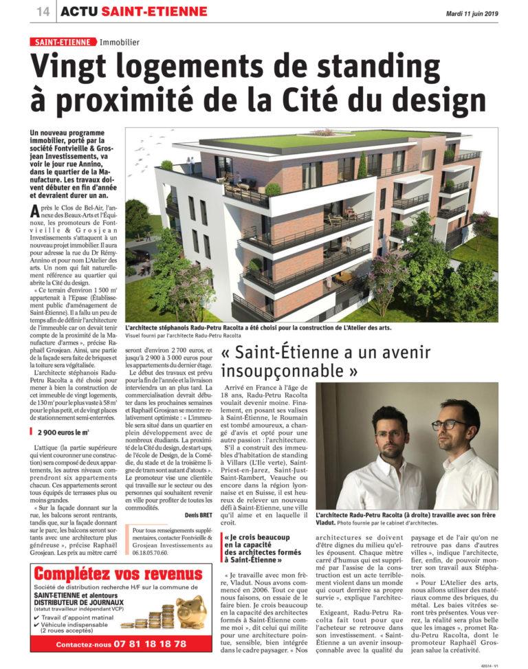 Atelier Racolta Architecte - Article Actu Saint-Etienne