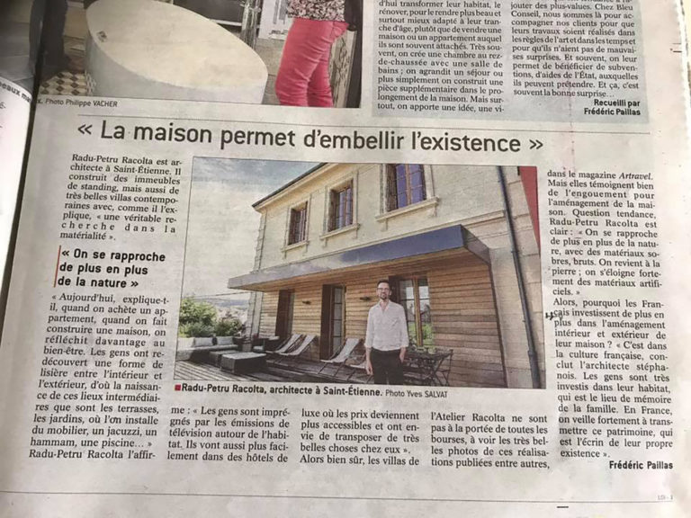 Atelier Racolta Architecte - article la tribune le progres