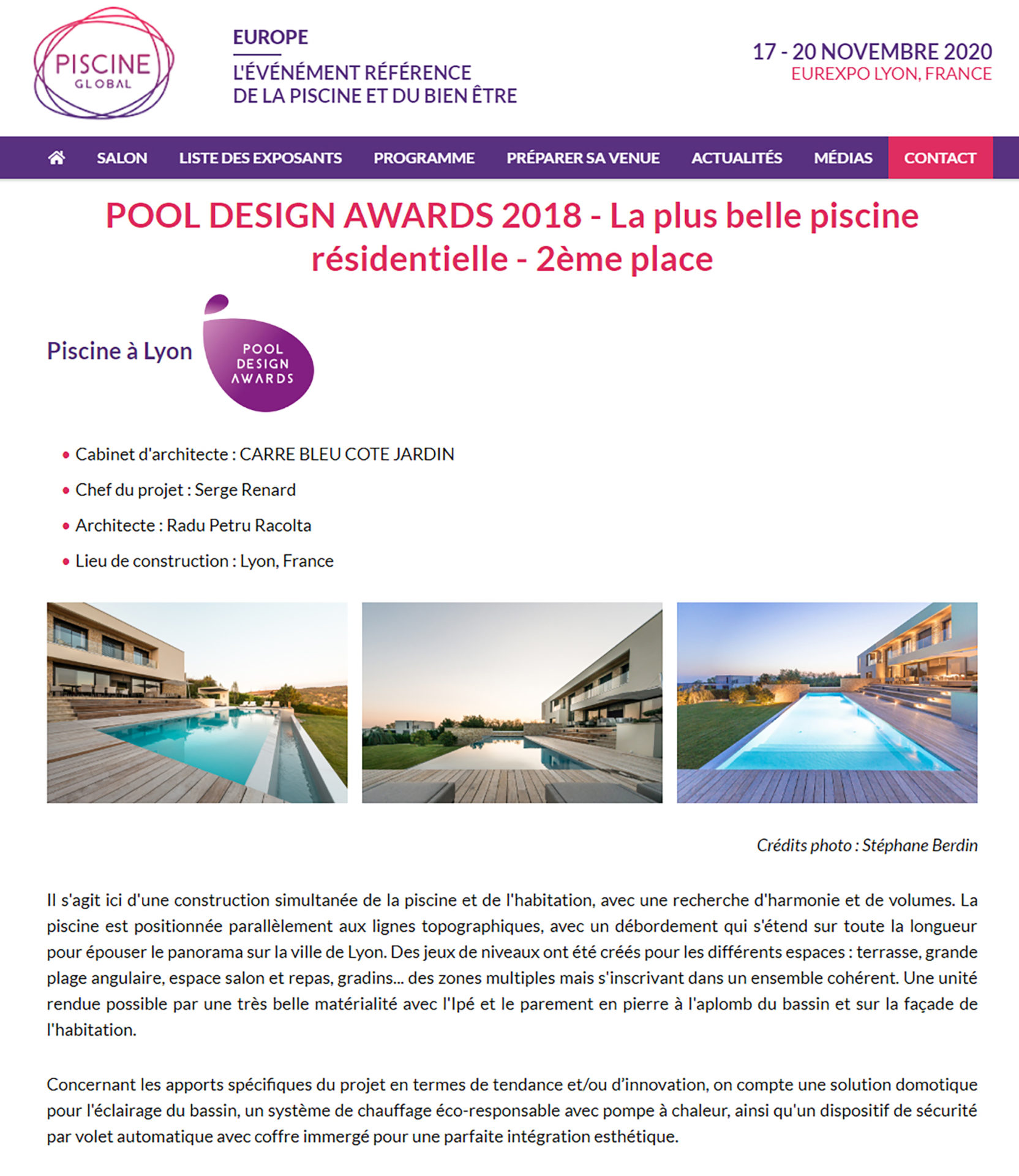 Pool Design Awards 2018 – 2ème place